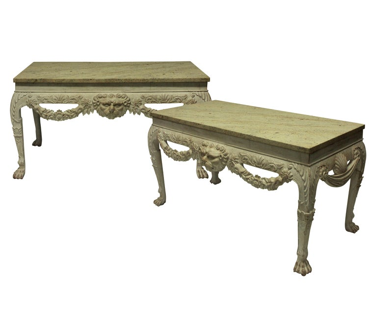 Pair of English George I Style Painted and Carved Mahogany Console Tables In Good Condition In London, GB