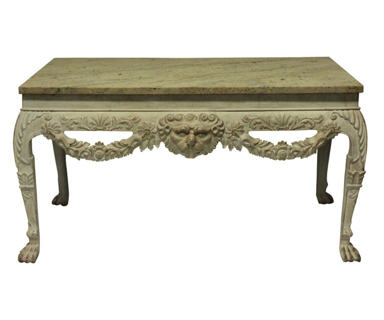 Mid-20th Century Pair of English George I Style Painted and Carved Mahogany Console Tables