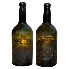 Pair of English George III Decorated Wine Bottles, circa 1780
