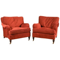 Pair of English George Smith Lounge Chairs