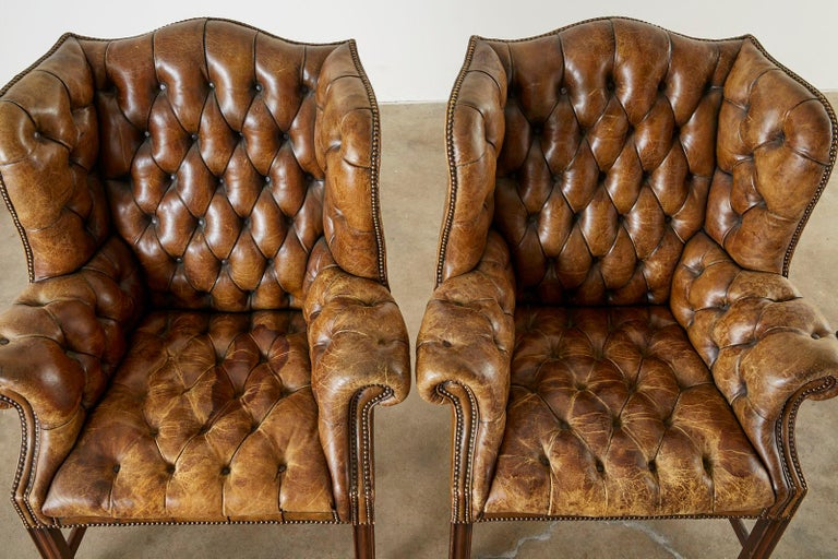 Pair of English Georgian Cigar Leather Wingback Library Chairs For Sale 3