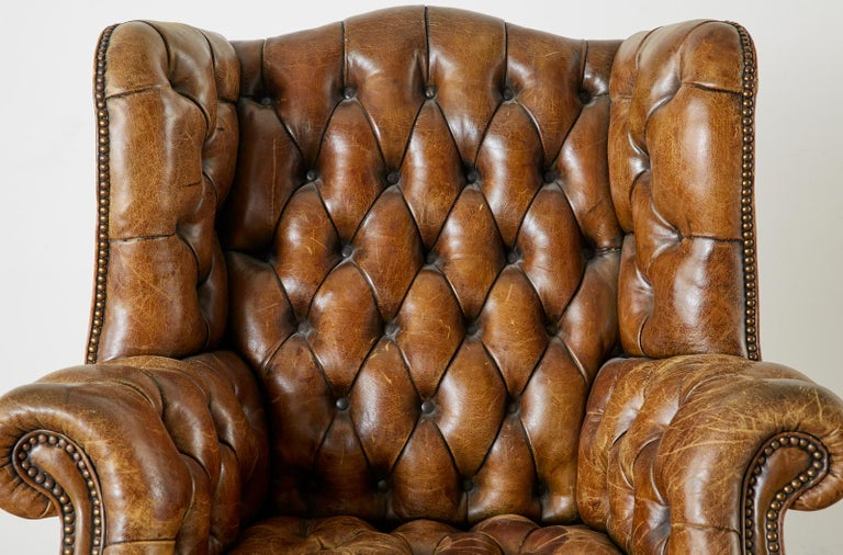 Brass Pair of English Georgian Cigar Leather Wingback Library Chairs For Sale