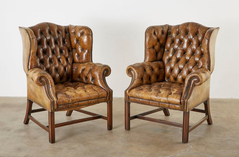 Pair of English Georgian Cigar Leather Wingback Library Chairs For Sale 1