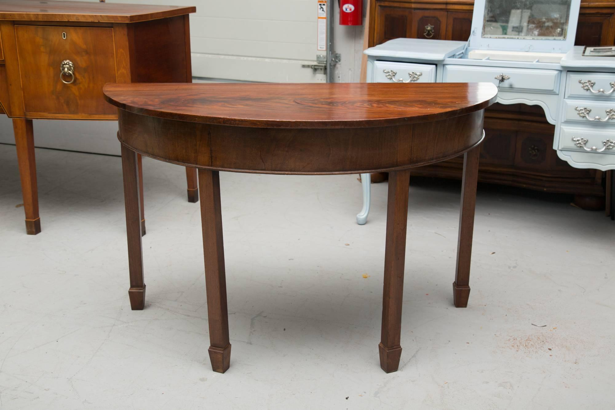 This Pair Of English George III Demilune Console Tables Are Constructed  With A Single Board