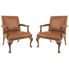 Pair of English Georgian 'Queen Anne' Style Carved Open Armchairs