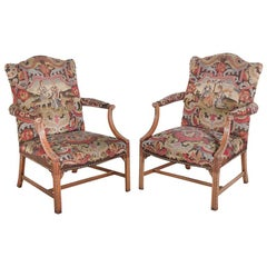 Pair of English Georgian Revival Armchairs Bergeres Gainsborough Chairs
