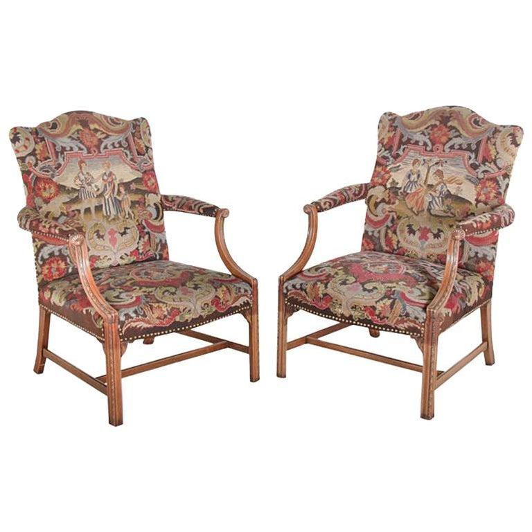 Pair of English Georgian Revival Armchairs Bergeres ...