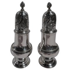 Pair of English Georgian Sterling Silver Condiment Casters