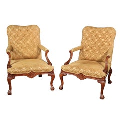 Pair of English Georgian Style Carved Walnut Lounge Chairs
