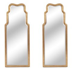 Pair of English Georgian Style Giltwood Carved Mirrors