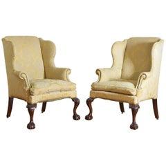 Pair of English Georgian Style Mahogany Wingchairs, circa 1900