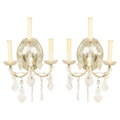 Pair of English Georgian Style Silver Plate and Crystal Wall Sconces