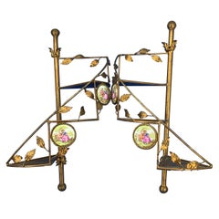 Pair Of English Gilded Metal Spiral Staircase Wall-Mounted Shelves