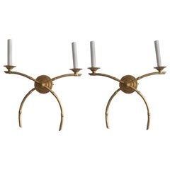 Pair of English Gilt Metal Bamboo Style Sconces