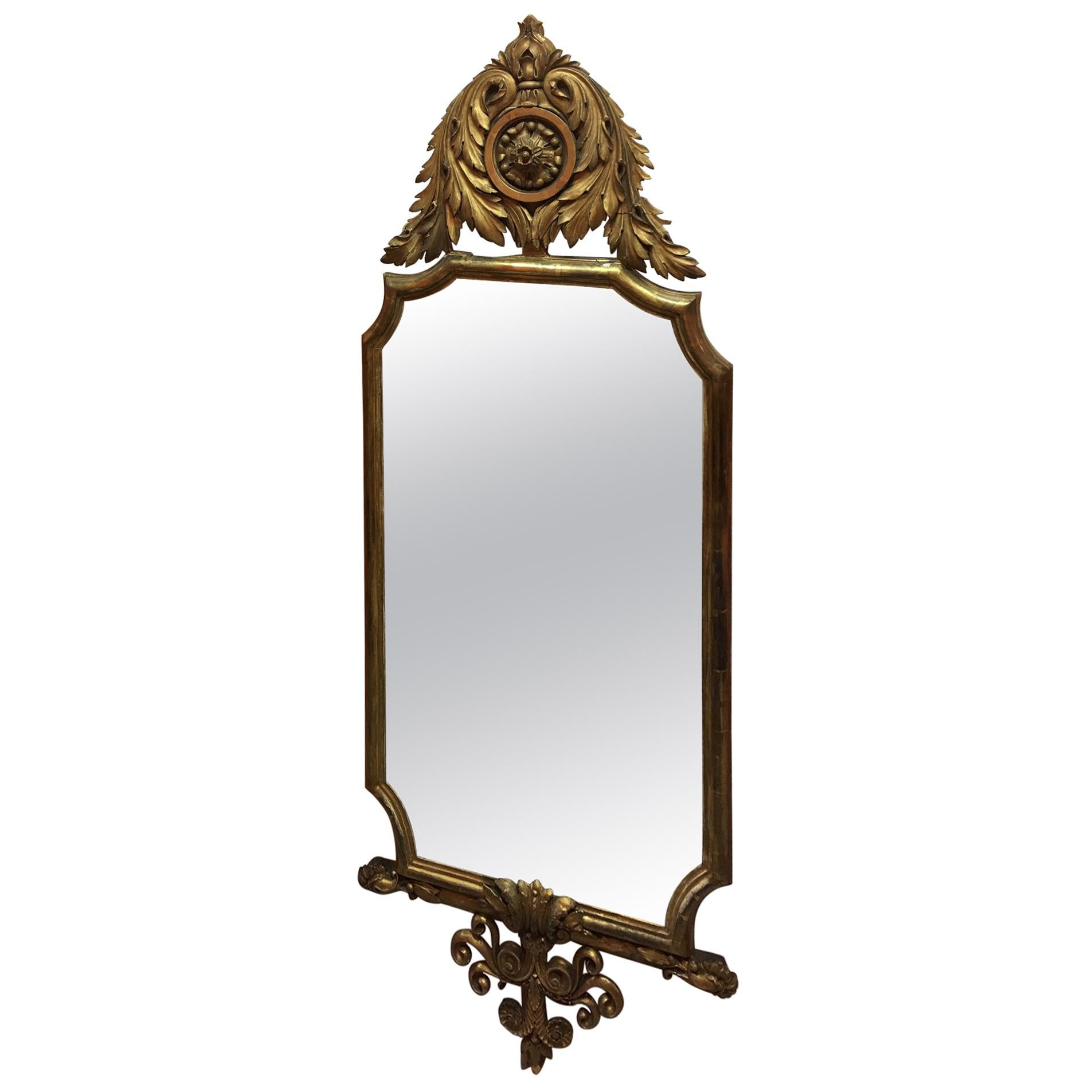 Pair of English Gold Leaf Mirrors with Acanthus Leaves and Scrolls, 19th Century