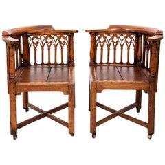 Pair of English Gothic Corner Chairs