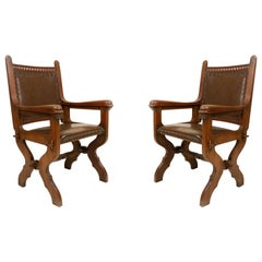 Pair of English Gothic Walnut and Leather Armchairs