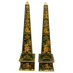 Pair of English Green Tole Gilt Chinoiserie Obelisks