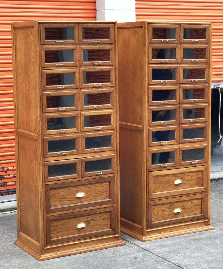 Industrial Pair of English Haberdashery Cabinets, 'Individually Priced' For Sale