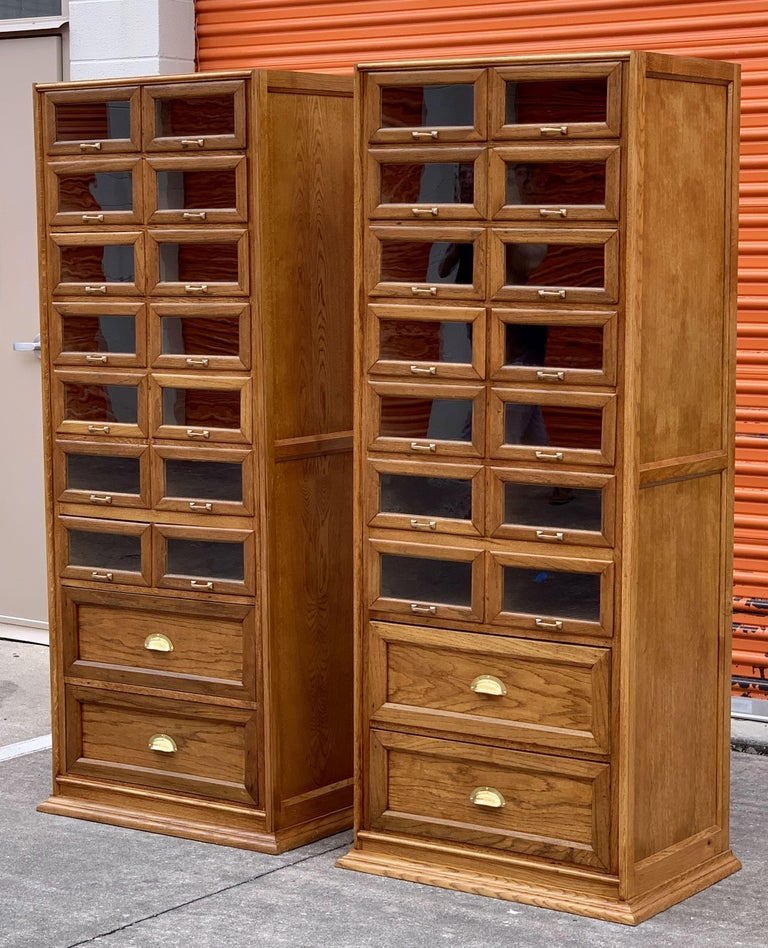 Metal Pair of English Haberdashery Cabinets, 'Individually Priced' For Sale