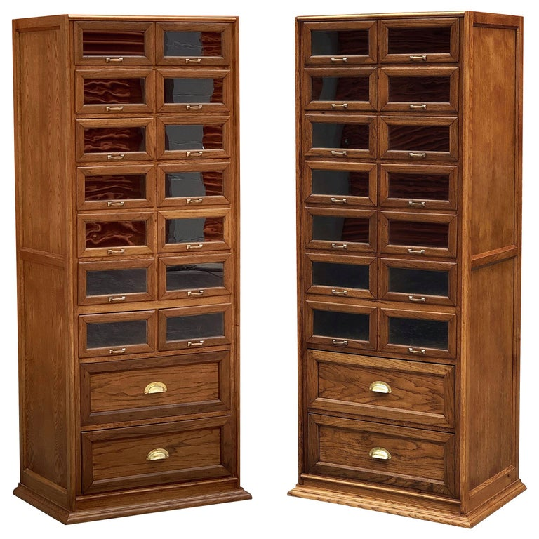 Pair of English Haberdashery Cabinets, 'Individually Priced' For Sale