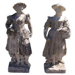 Pair of English Hand Carved Sandstone Figural Garden Statues , Circa 1780