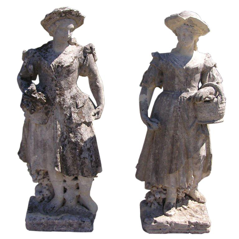 Pair of English Hand Carved Sandstone Figural Garden Statues , Circa 1780 For Sale