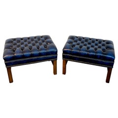 Pair of English Hollywood Regency Blue Leather Chesterfield Benches/Ottomans