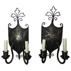 Pair of English Iron Shields with Lion Motif Sconces, Early 20th Century