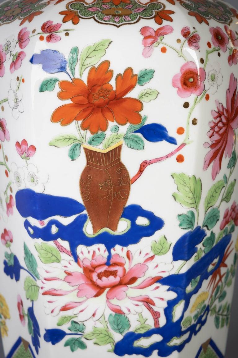 Porcelain Pair of English Ironstone Imari Hexagonal Covered Vases, circa 1815 For Sale