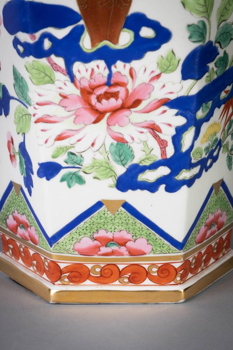 Pair of English Ironstone Imari Hexagonal Covered Vases, circa 1815 For Sale 1