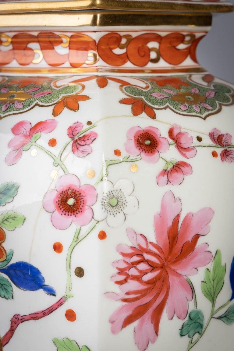 Pair of English Ironstone Imari Hexagonal Covered Vases, circa 1815 For Sale 2