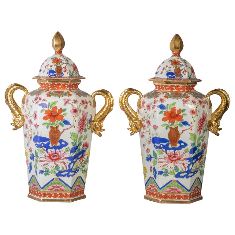 Pair of English Ironstone Imari Hexagonal Covered Vases, circa 1815 For Sale