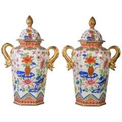 Pair of English Ironstone Imari Hexagonal Covered Vases, circa 1815