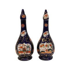 Pair of English Ironstone Vases with Lids