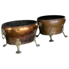Pair of English Late 19th Century Copper & Brass Lion Paw Coal Buckets/Planters