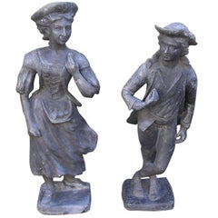 Pair of English Lead Garden Statues