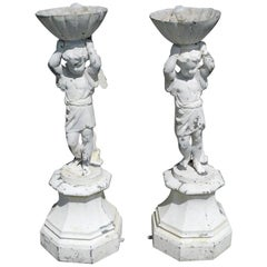 Pair of English Lead Painted Figural Winged Cherub Bird Bath Statuary, C. 1870