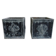 Pair of English Lead Planters with Scallop Shell Motif, Square