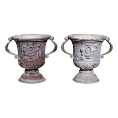 Pair of English Lead Poly Chromed Garden Urns with Flanking Handles, Circa 1820