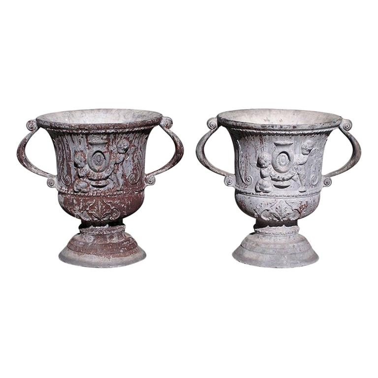 Pair of English Lead Poly Chromed Garden Urns with Flanking Handles, Circa 1820 For Sale