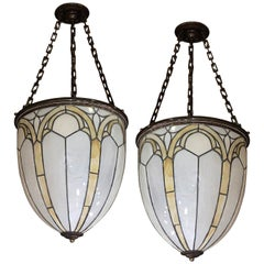 Pair of English Leaded Glass Lanterns. Sold individually