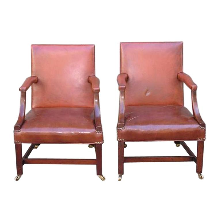 Pair of English Leather Arm Chairs For Sale