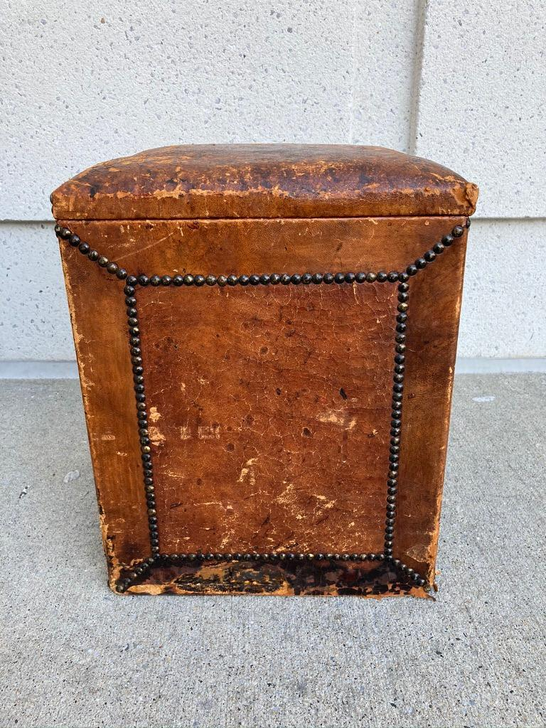 Pair of English Leather-Covered and Nail Studded Stools with Interior Storage For Sale 5