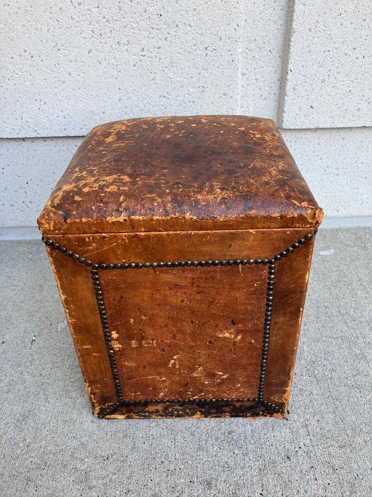 Pair of English Leather-Covered and Nail Studded Stools with Interior Storage For Sale 6