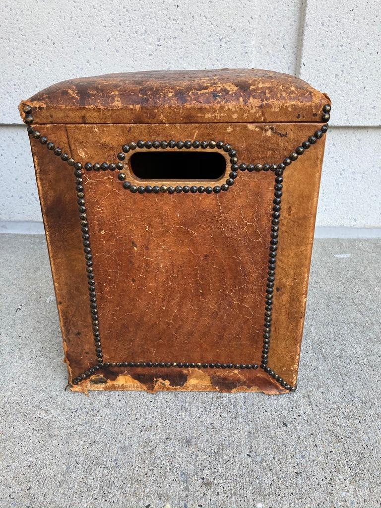 Pair of English Leather-Covered and Nail Studded Stools with Interior Storage For Sale 7