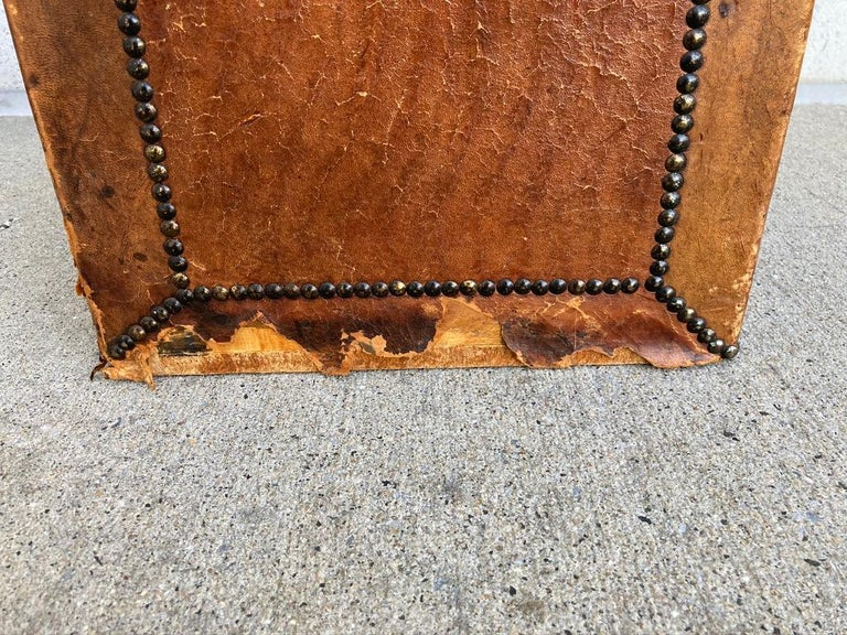Pair of English Leather-Covered and Nail Studded Stools with Interior Storage For Sale 8