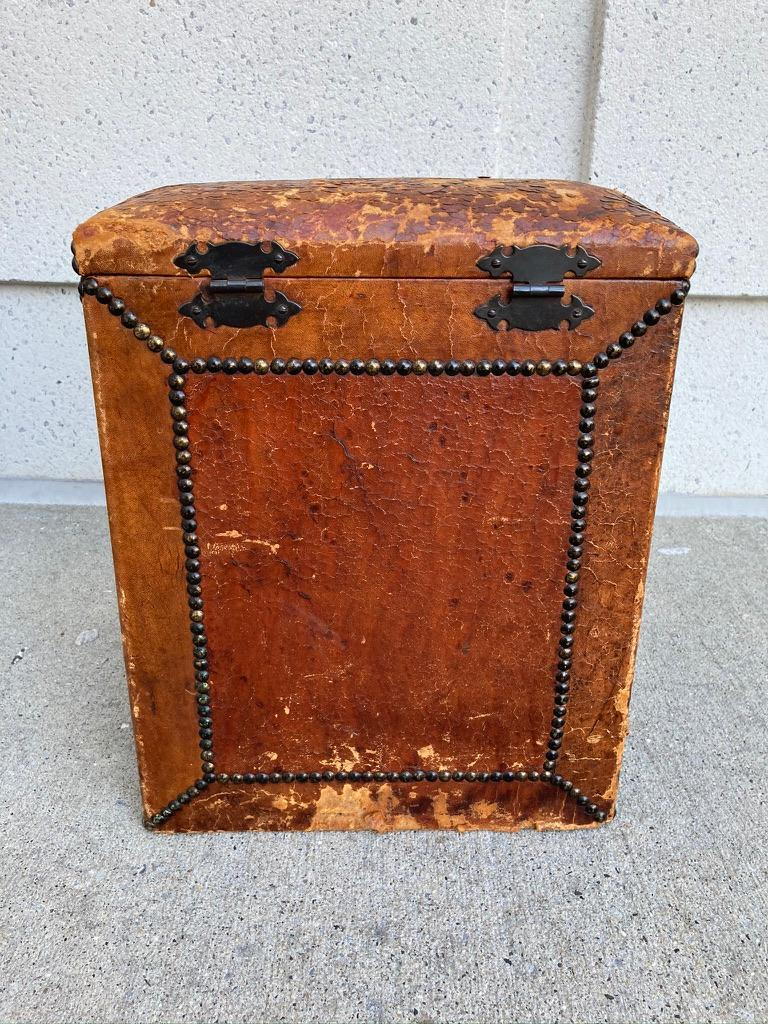 Pair of English Leather-Covered and Nail Studded Stools with Interior Storage For Sale 9