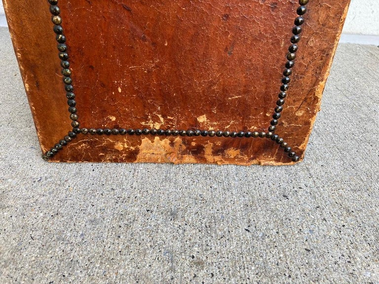 Pair of English Leather-Covered and Nail Studded Stools with Interior Storage For Sale 10