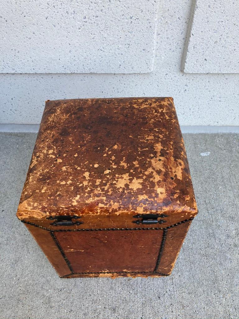 Pair of English Leather-Covered and Nail Studded Stools with Interior Storage For Sale 11